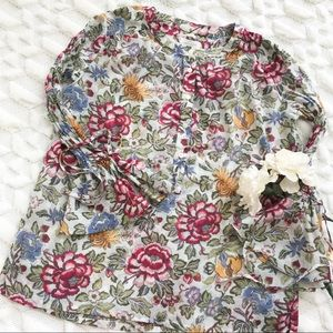 LOFT Soft Wildflower Floral Bell Sleeve Top
